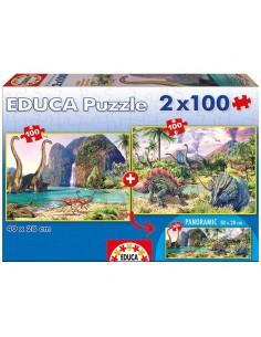 Puzzle Dinosaurios 2x100pz