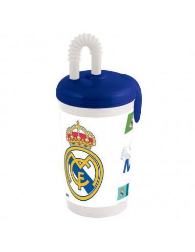 Vaso con tapa oficial del Real Madrid