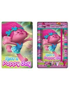 Caja metalica con set papelería Poppy de Los Trolls