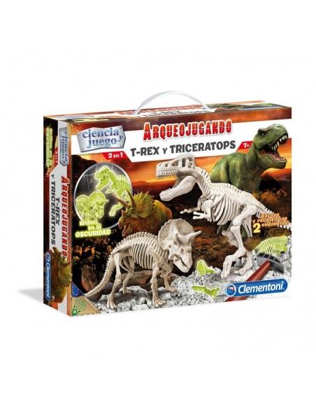 Arqueojugando T Rex y Triceratops fosforescente