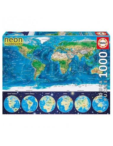 Puzzle Mapamundi fisico neon 1000pz