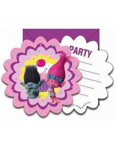 Set 6 invitaciones Trolls Poppy Party