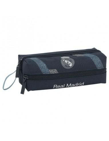 Estuche Portatodo oficial triple del Real Madrid Negro y Gris