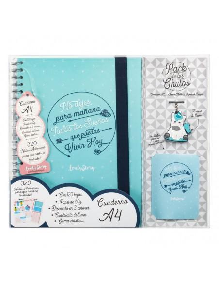Set regalo Cuaderno A4 + tarjeta + llavero Sueños - Imagen 1