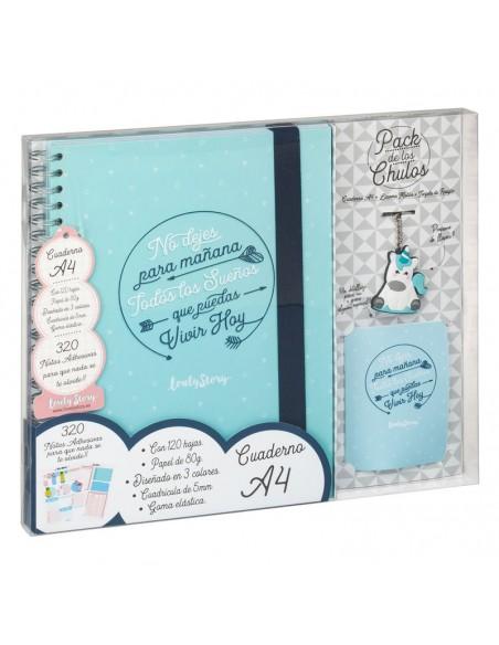 Set regalo Cuaderno A4 + tarjeta + llavero Sueños - Imagen 3