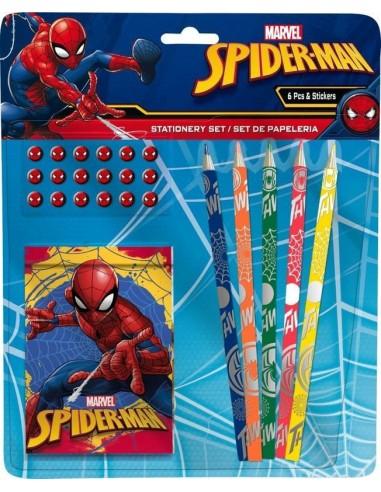 Set papelería Spiderman de 6 piezas
