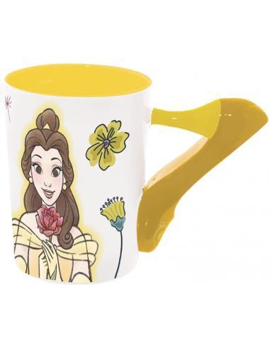 Taza cerámica 3d Zapato Bella de Princesas Disney.