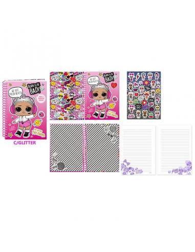 Cuaderno con pegatinas A5 de Lol Surprise.