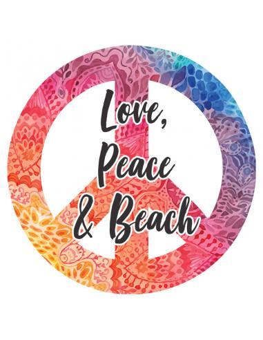 Toalla redonda Love Peace & Beach microfibra - Imagen 1