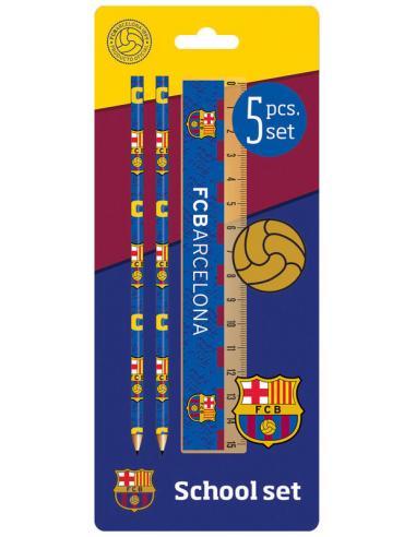Set papelería 5 piezas Oficiales del F.C. Barcelona.