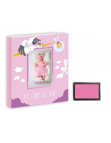 Mi Libro Del Bebé Niña Con  Tampón Para Huellas Pie Y Mano - Imagen 1
