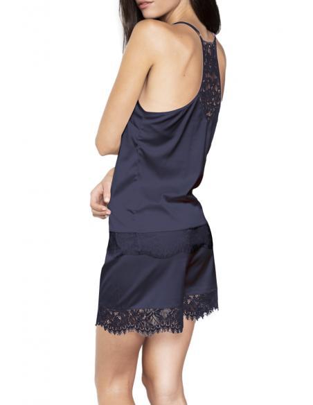 ADMAS Pijama Tirantes Satin Navy & Black para Mujer - Imagen 4