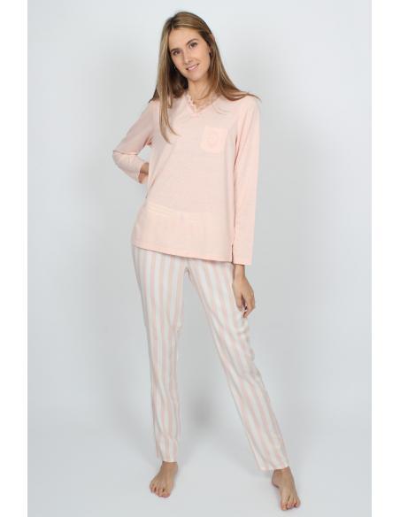 ADMAS CLASSIC Pijama Manga Larga Classic Stripes para Mujer - Imagen 4