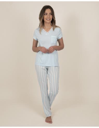 ADMAS CLASSIC Pijama Manga Corta Classic Stripes para Mujer - Imagen 1