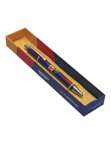 Bolígrafo metal juvenil en caja de Fc Barcelona