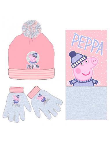 Conjunto gorro guantes braga cuello Peppa Pig - Imagen 1