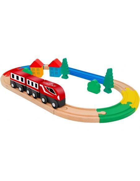Globo, tren con pista de madera 21 piezas - Imagen 1