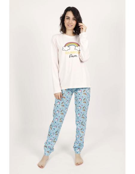 STAY AT HOME Pijama Manga Larga Rainbow Power para Mujer - Imagen 1
