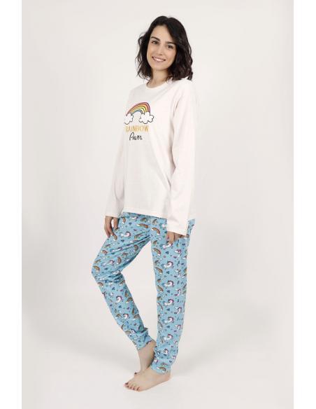 STAY AT HOME Pijama Manga Larga Rainbow Power para Mujer - Imagen 2