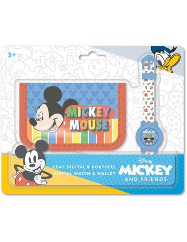 Set reloj digital y billetera de Mickey Mouse - Imagen 1