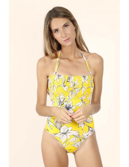 ADMAS Bañador Copa Yellow Flowers para Mujer - Imagen 1