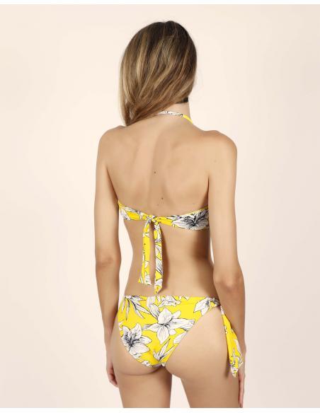 ADMAS Bikini Bandeau Yellow Flowers para Mujer - Imagen 3