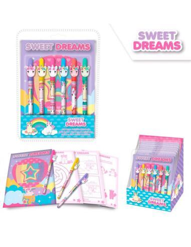 Set 6 boligrafos de gel + cuaderno actividades de Sweet Dreams (st24) - Imagen 1