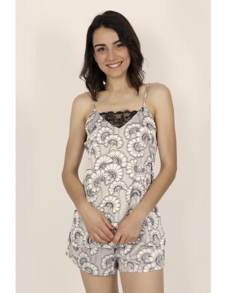 ADMAS CLASSIC Pijama Tirantes Soft White Flowers para Mujer - Imagen 1