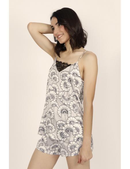 ADMAS CLASSIC Pijama Tirantes Soft White Flowers para Mujer - Imagen 2