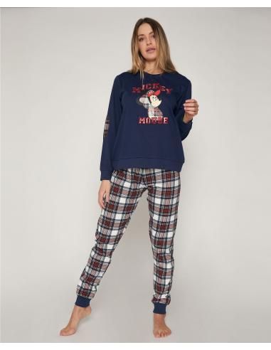 DISNEY Pijama Manga Larga Mickey College para Mujer - Imagen 1