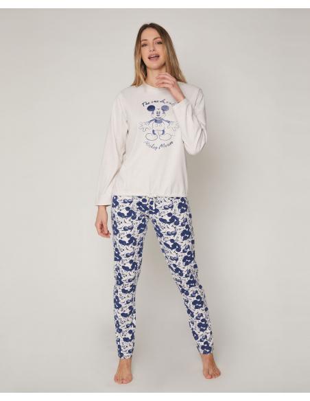 DISNEY Pijama Manga Larga Mickey Jeans para Mujer - Imagen 1
