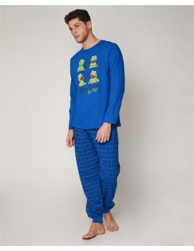 DISNEY Pijama Manga Larga Kermit Blue para Hombre - Imagen 1