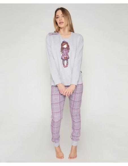 SANTORO GORJUSS Pijama Manga Larga Felpa Le Beret para Mujer - Imagen 1
