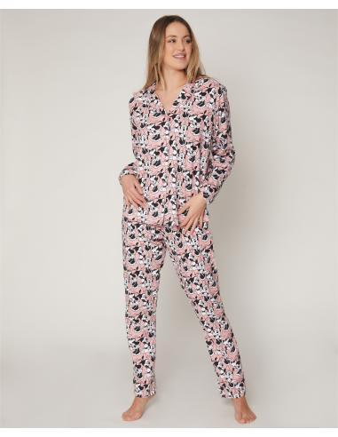 DISNEY Pijama Abierto Manga Larga Bowtiful Minnie para Mujer - Imagen 1