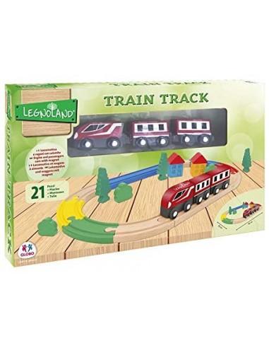 Globo, tren con pista de madera 21 piezas