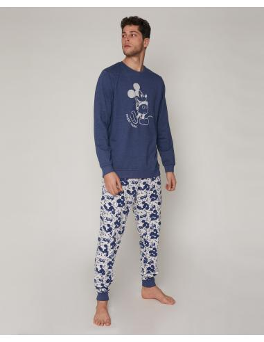 DISNEY Pijama Manga Larga Mickey Jeans para Hombre - Imagen 1