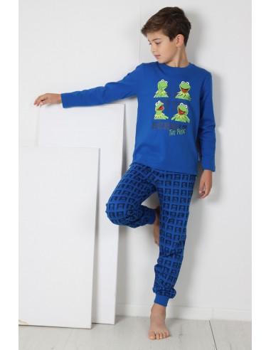 DISNEY Pijama Manga Larga Rana Gustavo Kermit Blue para Niño