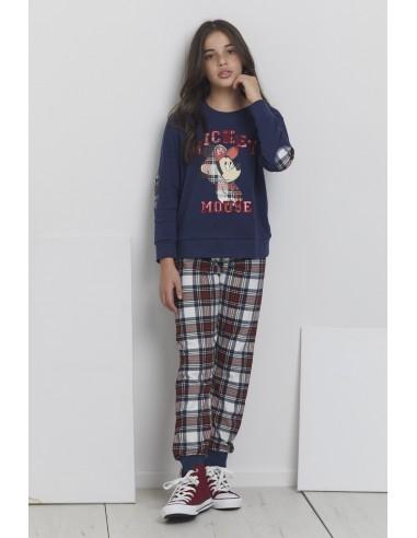 DISNEY Pijama Manga Larga Mickey College para Niña